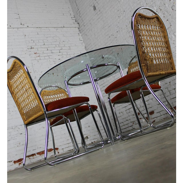 Daystrom Mid-Century Glass & Chrome Table With Chrome & Wicker Chairs - Set of 5 For Sale - Image 5 of 11