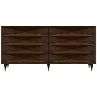 Customizable Faceted Walnut Dresser or Credenza For Sale