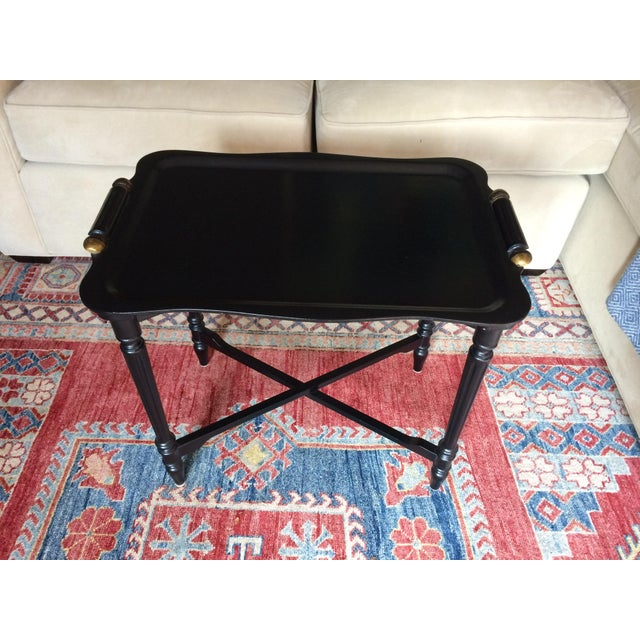 Black Tray Table With Gold Accents - Image 2 of 6