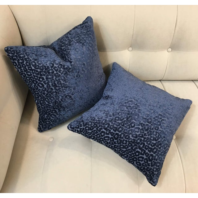 Asian Contemporary Kiribati Twilight Animal Cheetah Fabric Pillows - a Pair For Sale - Image 3 of 5