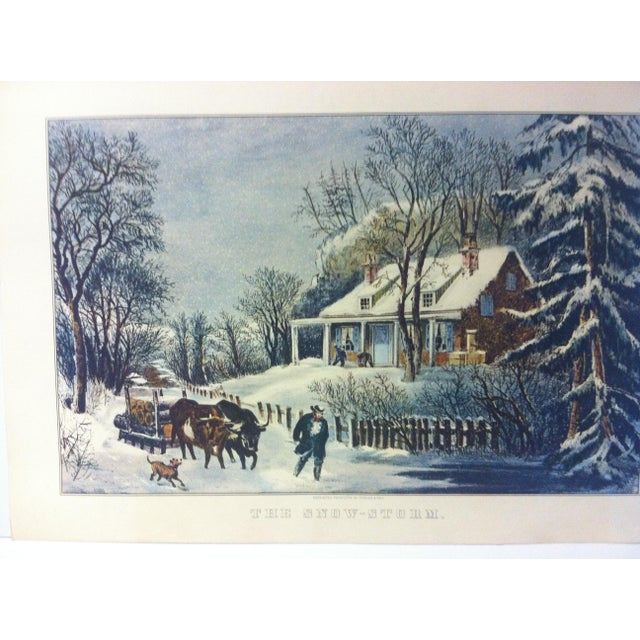 """This is a reproduction of a Currier & Ives color print that is titled """"The Snow Storm"""". The print is dated 1954 and is..."""