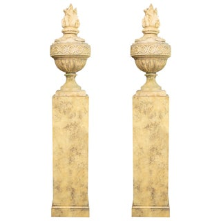 English Stone Cast Urns on Faux Marble Pedestals - a Pair For Sale