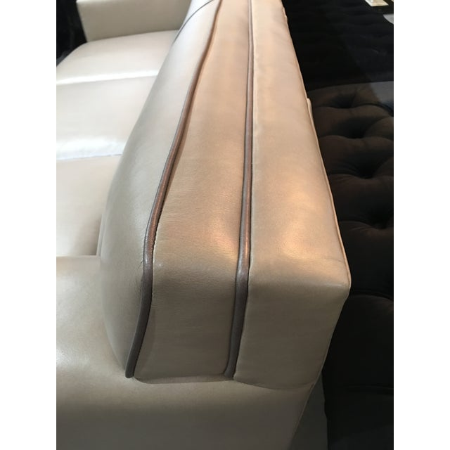 Tan Modern LeatherCraft Custom Pearlized Italian Leather Sofa For Sale - Image 8 of 13