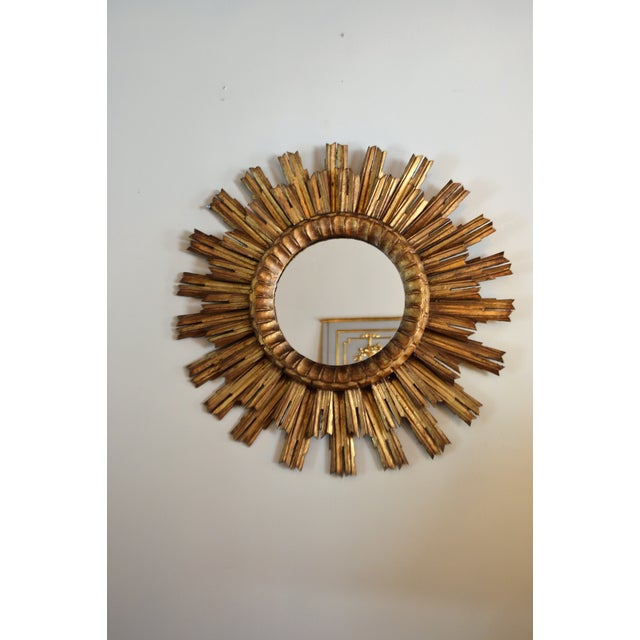 Gold French Antique Sunburst Mirror For Sale - Image 8 of 8