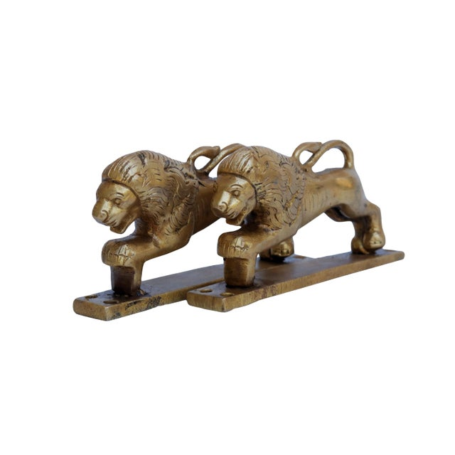 Brass Lion Door Handles - a Pair For Sale - Image 4 of 5