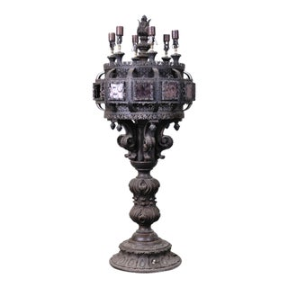 Vintage Moroccan Carved Table Lamp For Sale