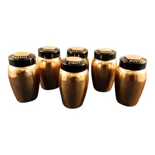 Mid-Century Spice Canisters. Copper-On-Aluminum Spices - Set of 6
