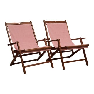 Teak and Canvas Folding Chairs by Royal- A Pair For Sale