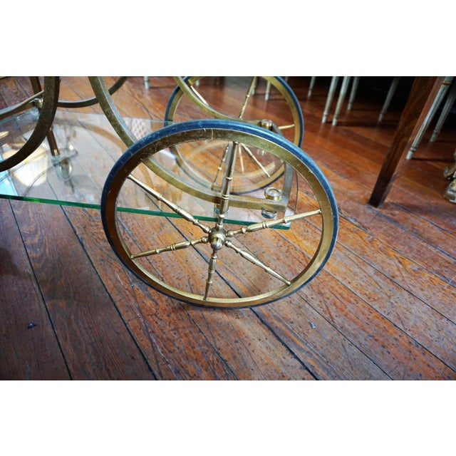 French Brass and Glass Service Table For Sale - Image 4 of 10