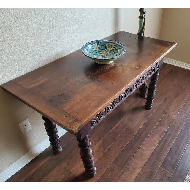 Brown Rustic 18th Century Spanish Baroque Period Carved Walnut Table For Sale - Image 8 of 12