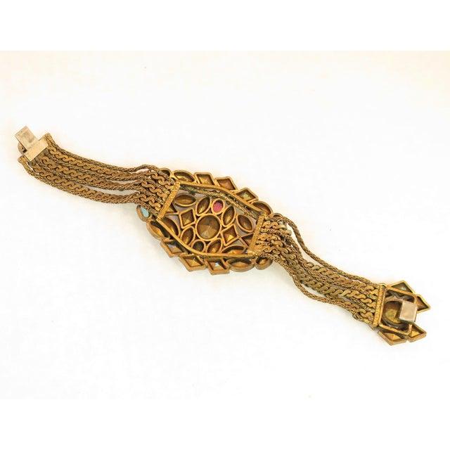 Czech Art Deco Jewel-Tone Bohemian Crystal & Chains Bracelet 1920s For Sale - Image 11 of 13