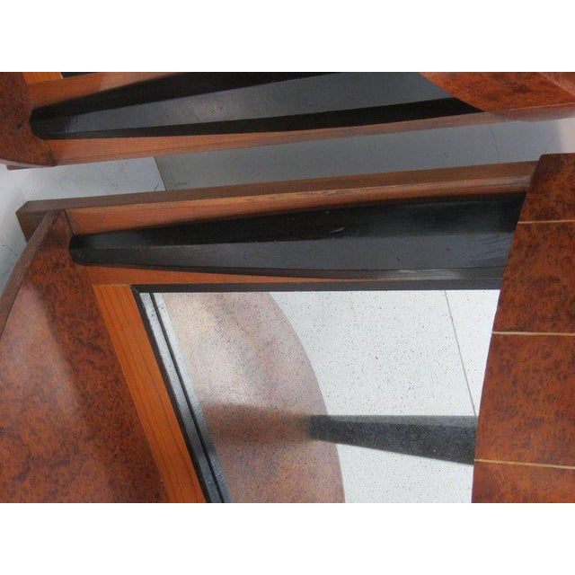 Mid 20th Century Pair of Mid Century Modern Style Burl Walnut and Ebonized Mirrored Consoles For Sale - Image 5 of 9