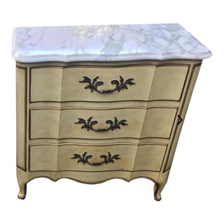 Signed Karges Marble Top Louis XV Style Nightstand End Table