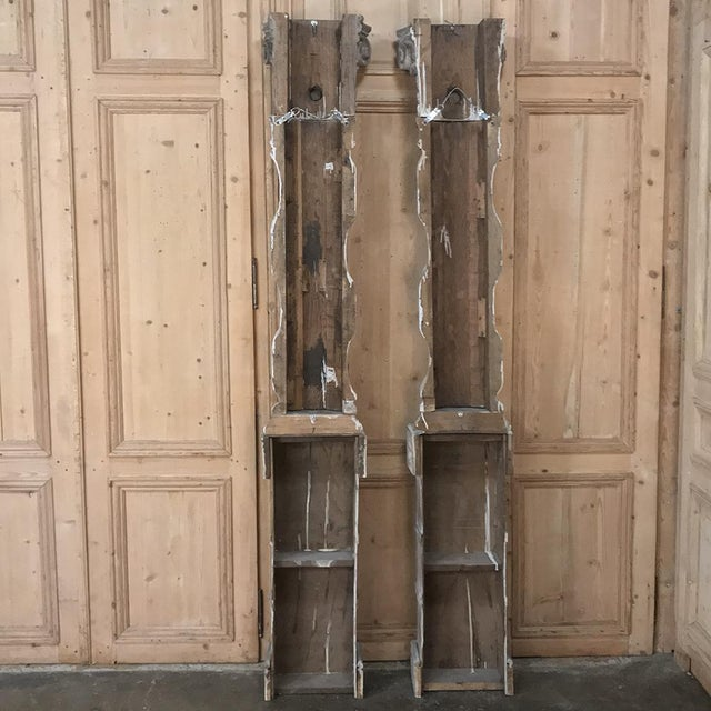 Pair French Architectural Corinthian Weathered Oak Hand Carved Columns For Sale - Image 11 of 13