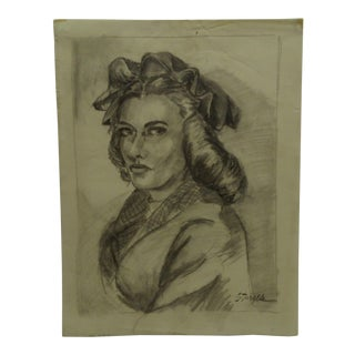 "1940s Figurative Original Drawing/Sketch on Paper ""Sassy"" by Tom Sturges Jr. For Sale"