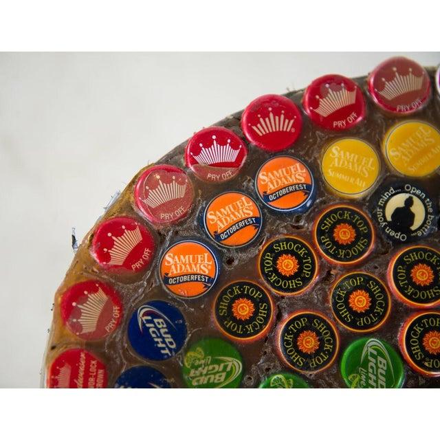 1970s Folk Art Bottle Cap X Frame Side Table For Sale In Atlanta - Image 6 of 9