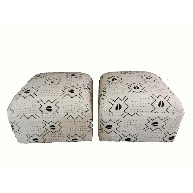 White & Black Mud Cloth Ottomans - A Pair - Image 4 of 9
