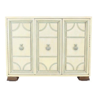 Marble Two Tone Finish Folding Doors Bachelor Chest Cabinet Dorothy Draper Style For Sale