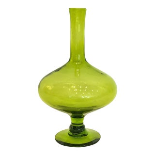 Vintage Footed Green Glass Vase