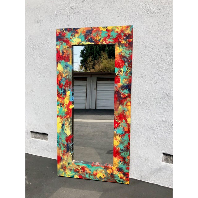 """Abstract Freeform Painted Custom Full Length Mirror - 37""""X 75"""" For Sale - Image 11 of 11"""
