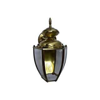 Carriage-Style Brass & Glass Lantern Sconce