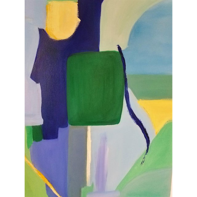 """Christine Frisbee """"Green Door"""" Abstract Painting For Sale - Image 4 of 8"""