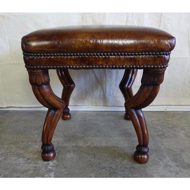 Leather Embossed Gazelle Benches, Pair For Sale - Image 4 of 8