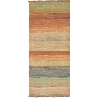Mid 20th Century Moroccan Rag Rug- 4′2″ × 10′5″ For Sale