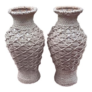 Wicker Woven Around Wrought Iron Vases - Set of 2 For Sale