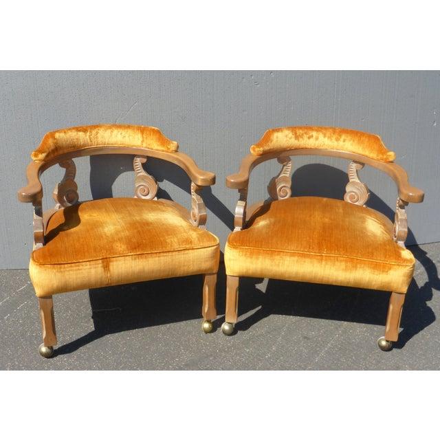 Hollywood Regency Orange Velvet Chairs - A Pair - Image 2 of 11