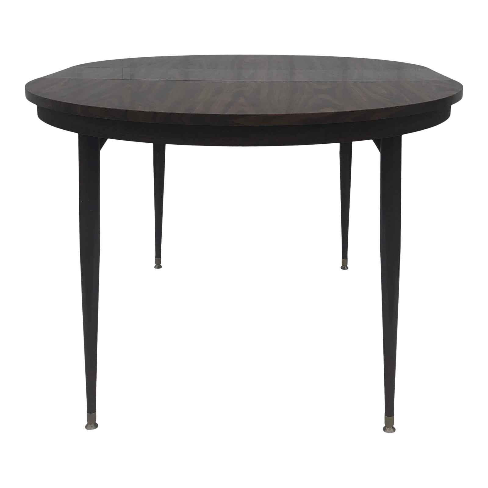 Mid Century Modern Round Dining Table With Two Leafs Chairish