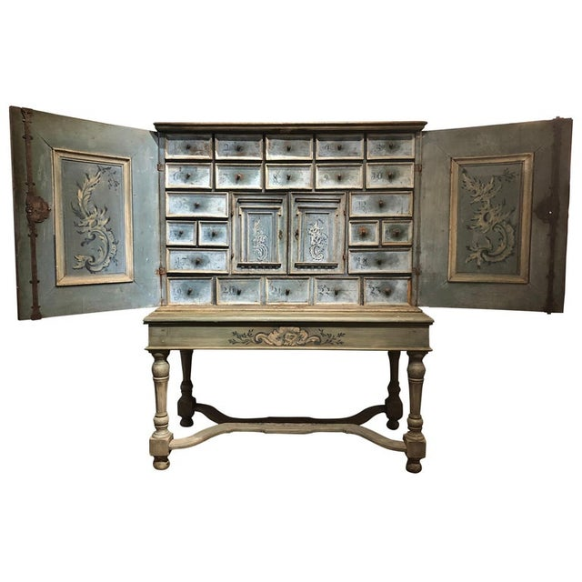 Blue 17th Century Blue Hand Painted Swiss Baroque Multi-Drawer Cabinet For Sale - Image 8 of 8