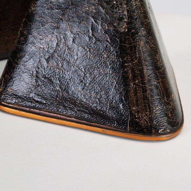 Black Pair of Copper and Leather Bookends by Ben Seibel for Raymor For Sale - Image 8 of 10