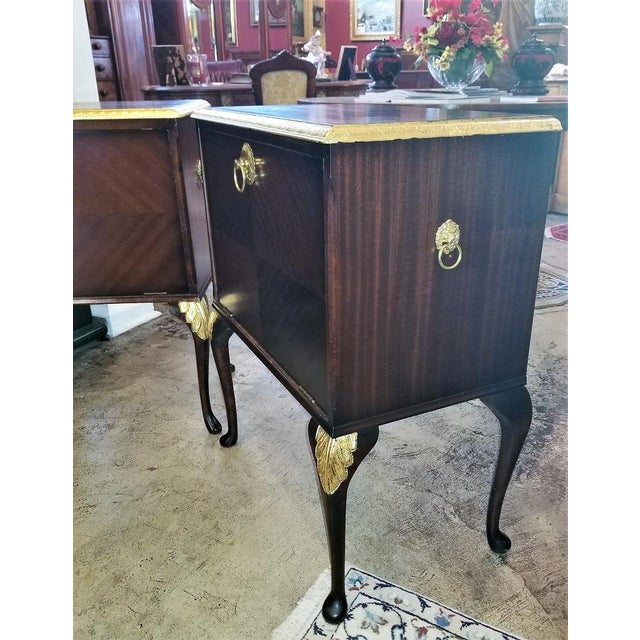 Metal Chippendale Mahogany With Gilt Accents Side Tables / Nightstands - a Pair For Sale - Image 7 of 13
