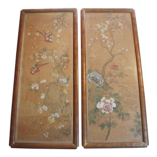 Vintage Painted Floral Panels, Pair For Sale