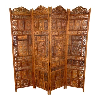 Vintage Indian Sandalwood Four Panel Screen For Sale