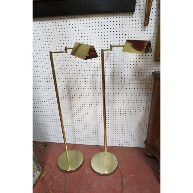 Metal Vintage Mid Century Modern Koch and Lowy Brass Swim Arm Floor Lamps, C. 1970 - a Pair For Sale - Image 7 of 7