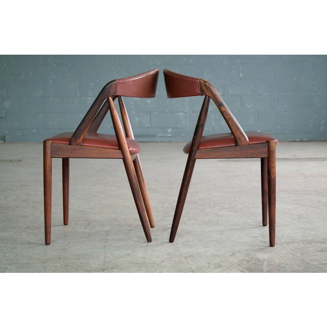 Red Kai Kristiansen Rosewood and Red Leather Model 31 Dining Chairs - Set of 5 For Sale - Image 8 of 13