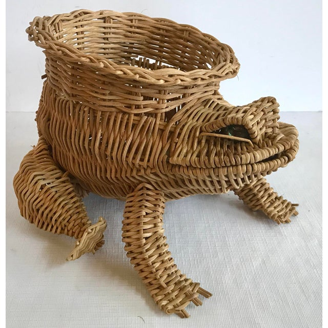 20th Century Country Wicker Frog Planter Basket For Sale - Image 9 of 9