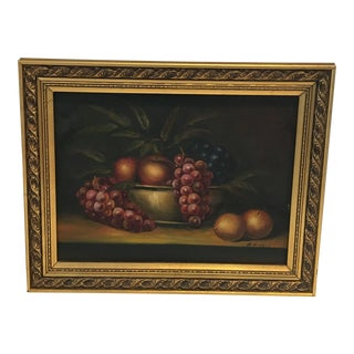 1960s Vintage M . Morgan Still Life Oil on Canvas Painting For Sale