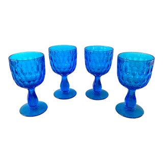 Mid Century Teal Blue Cocktail Glasses For Sale