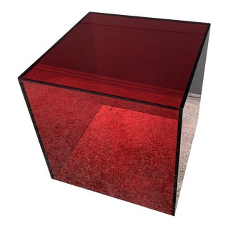Shlomi Haziza Red Lucite Cube Pedestal or End Table For Sale