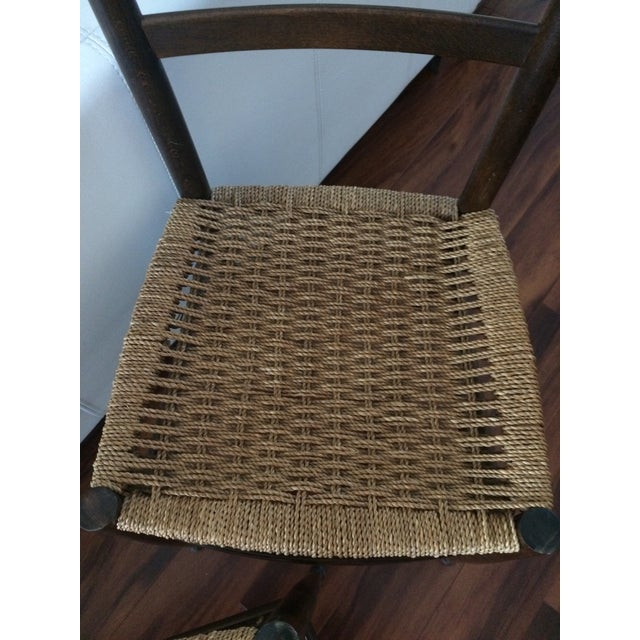 Vintage Italian Woven Seat Dining Chairs - A Pair - Image 9 of 11