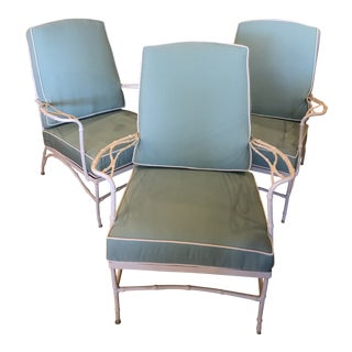 Vintage Sunbrella Faux Bamboo Powder-Coated Metal Lounge Club Patio Chairs -Set of 3 For Sale
