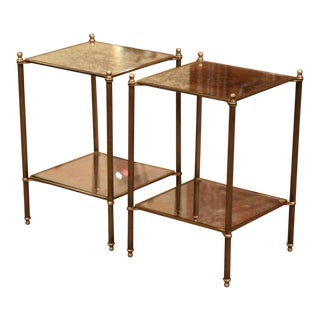 Early 20th Century French Brass and Mirrored Two-Tear Jansen End Tables-a Pair For Sale