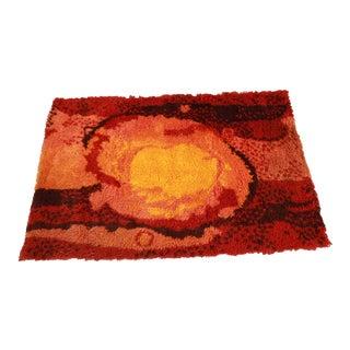 Danish Modern Sunburst Rya Wool Shag Rug For Sale