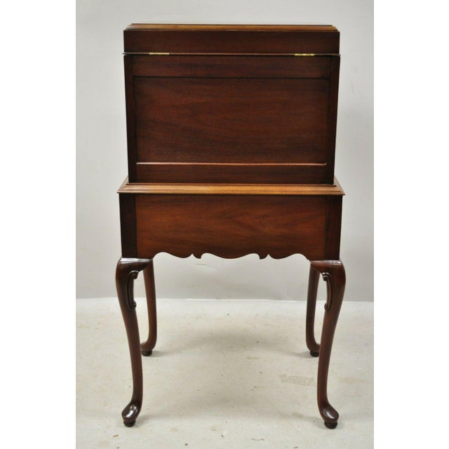 Hickory Chair Co. Mahogany & Burlwood Queen Anne Silverware Silver Chest For Sale - Image 11 of 13
