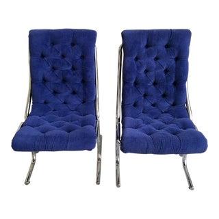 1960s Mid-Century Modern Tubular Blue Tufted Armless Chairs - a Pair For Sale