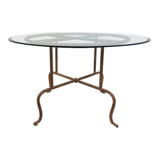 Metal Table With Beveled Glass Top For Sale