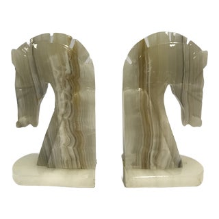 Mid-Century Onyx Trojan Horse Head Bookends - a Pair For Sale